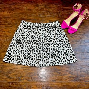 Loft Animal Leopard Print Mini Skater Skirt Size L